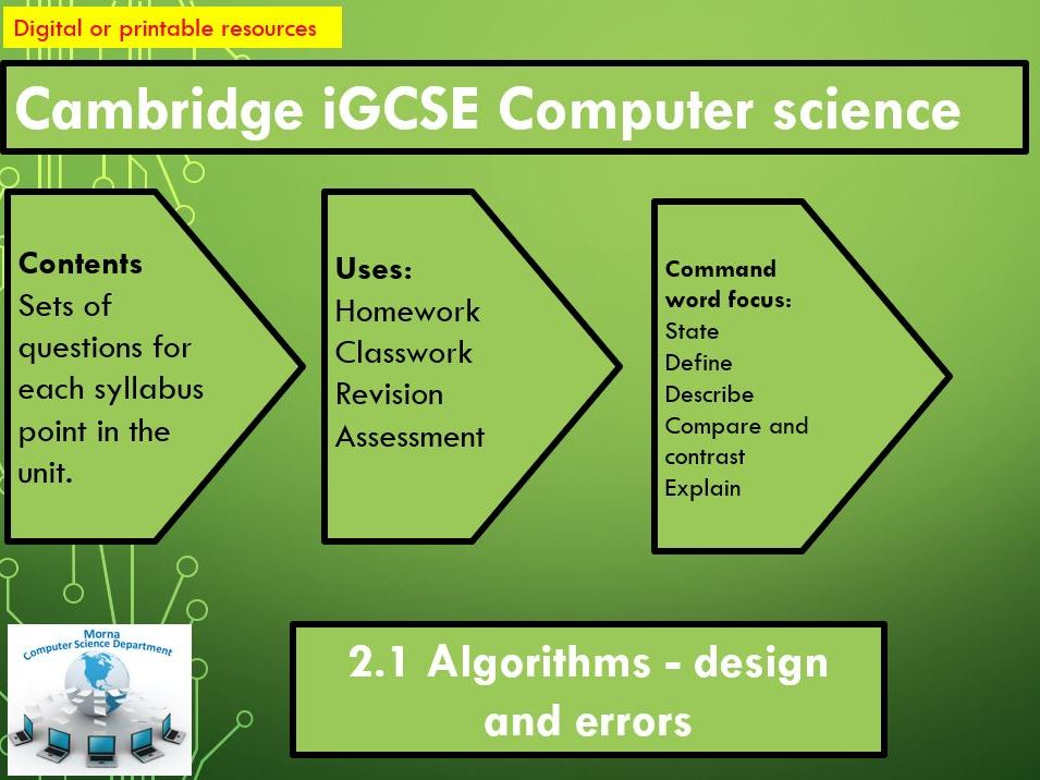 iGCSE Computer Science Revision Activities Unit 2.1 Algorithms - design and errors