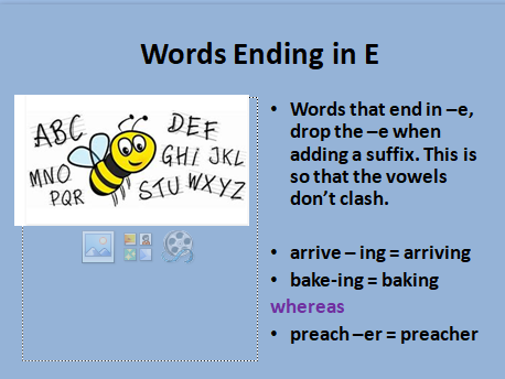 Spelling: Words Ending in E