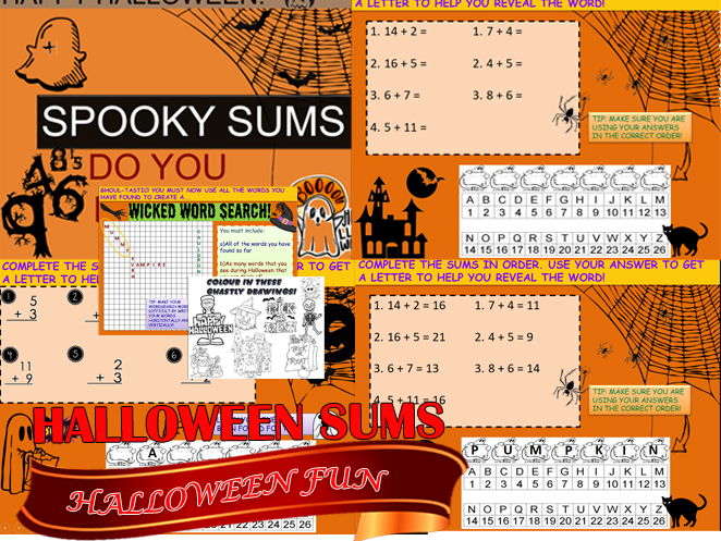 COMPLETE HALLOWEEN 2017 ACTIVITIES - SPOOKY SUMS,  WICKED WORD SEARCH AND GHASTLY COLOURING IN!