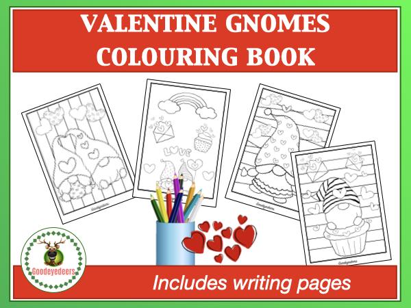 Valentine Gnomes Colouring Book