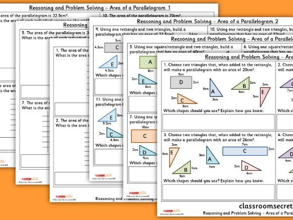 Year 6 Area of a Parallelogram Spring Block 5 Reasoning and Problem Solving Pack