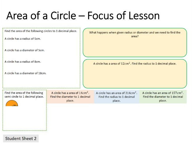 New Curriculum: Area of a Circle (Differentiated)