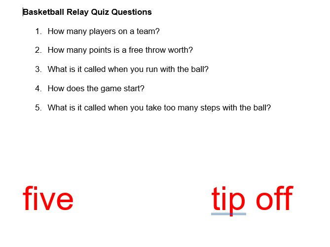 Basketball Relay Race Questions