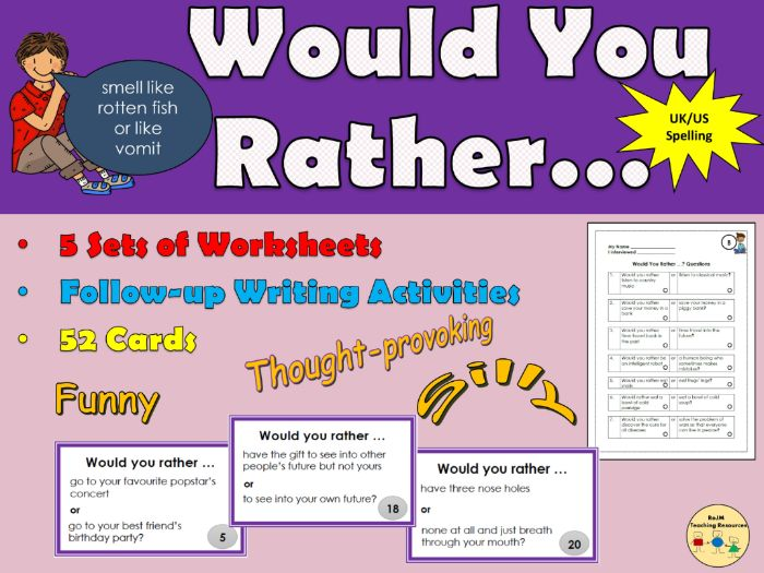 Would You Rather Questions Worksheets and Cards  Back to School  Icebreakers Listening and Speaking