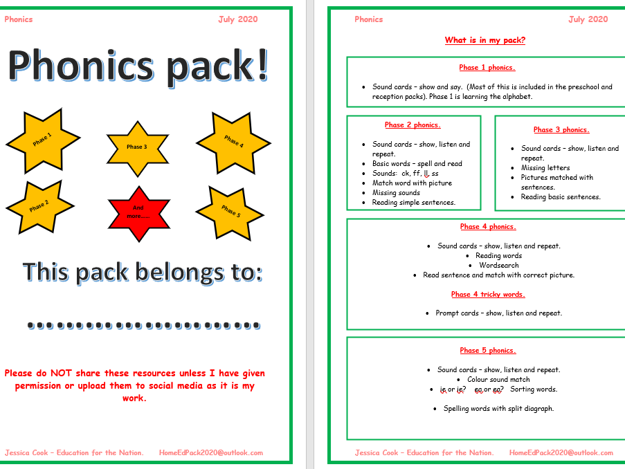 Phonics pack - phase 2 to 5