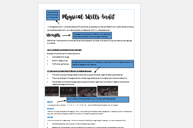 BTEC TECH component 2 Physical Skills Audit- homework pack