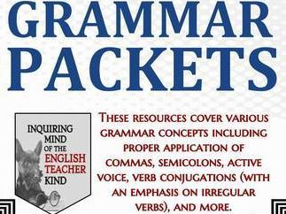 High School Grammar Packets Bundle (Commas, Verb Tense, Active Voice, & More)