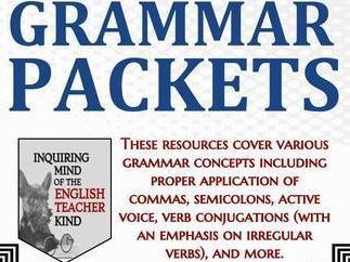 High School Grammar Packets Bundle (Commas, Verb Tense, Active Voice, & More)