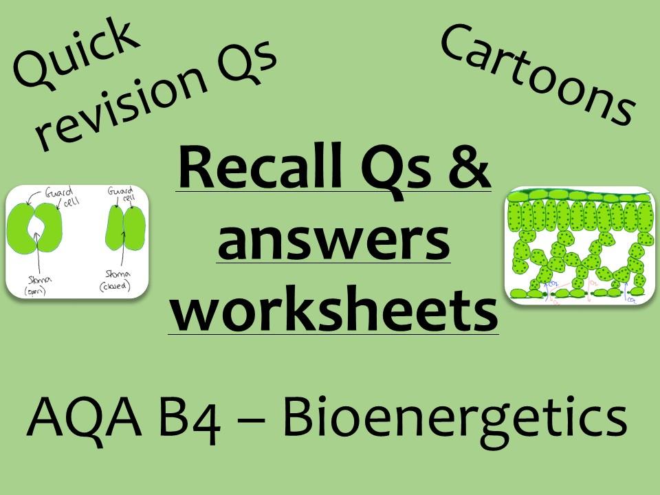 AQA Biology GCSE B4 -  bioenergetics recall Qs