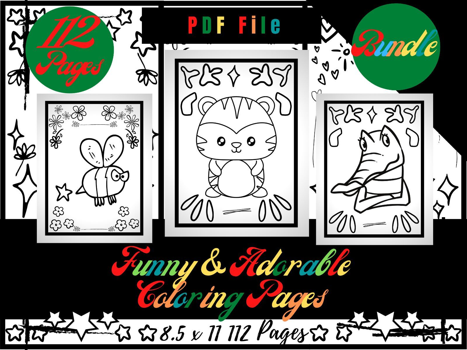 Bundle 112 Funny and Adorable Animals Sheets, Easy Coloring For Morning Work PDF