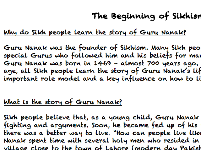 Sikhism Information Text