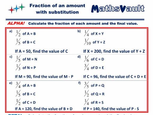 Fraction of an amount with substitution Differentiated Worksheet