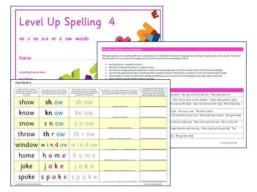 Level Up Spelling 4 - Sounds  oa z ee ai er e ow - Phonics for SEN