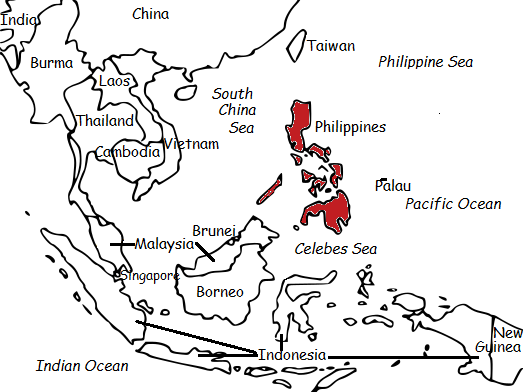 PHILIPPINES - Printable worksheet with map and flag