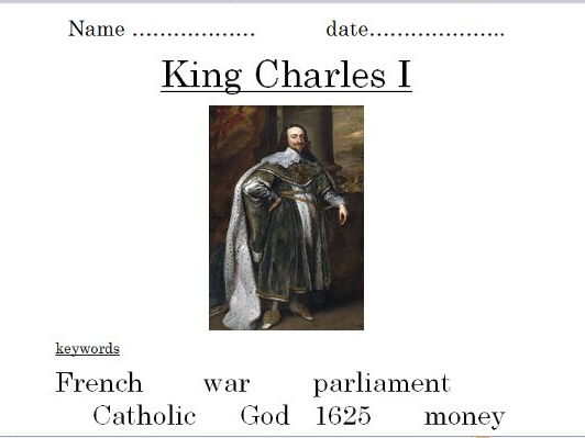 King Charles I (powerpoint and differentiated worksheets)