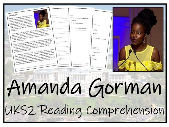 UKS2 Amanda Gorman Reading Comprehension Activity