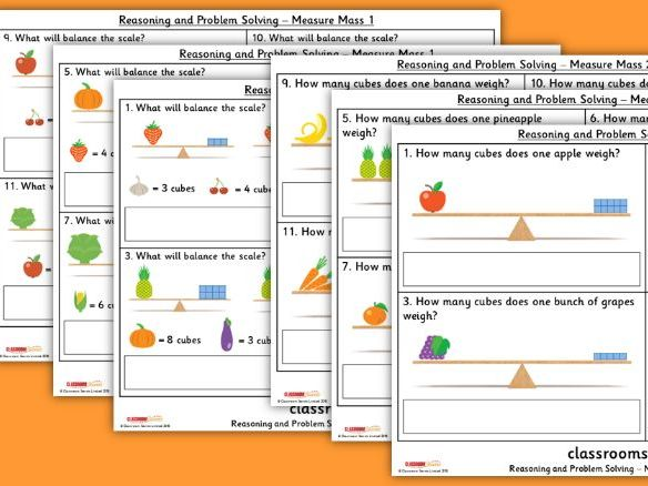 Year 1 Measure Mass Spring Block 4 Reasoning and Problem Solving Pack