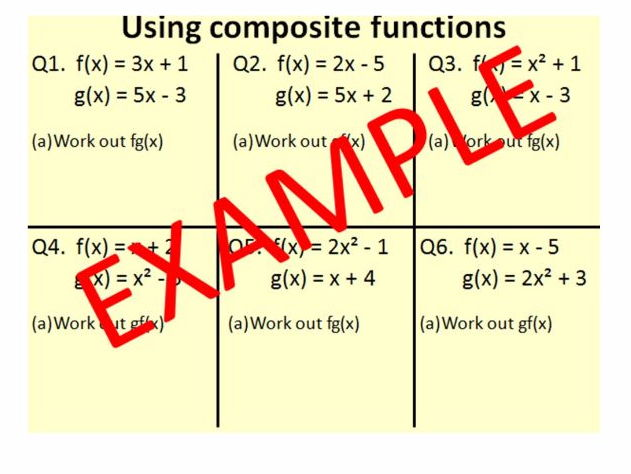 Composite functions and Inverse functions (new GCSE grade 9-1 content) - 3 LESSONS!