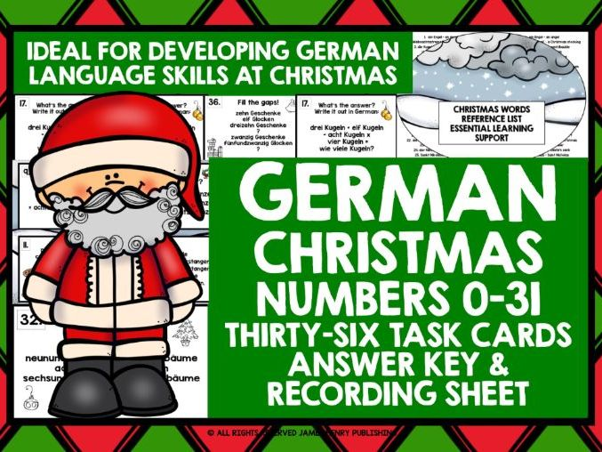 GERMAN CHRISTMAS NUMBERS 0-31 CHALLENGE CARDS
