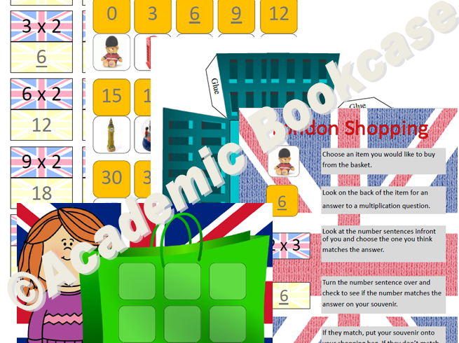 London shopping multiplication game - 2x to 12x table options