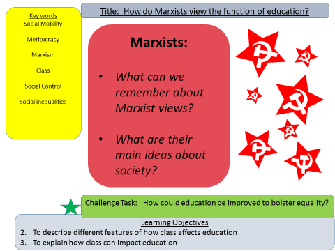 marxist functions on education Education system performs various functions and sociologists hold different and conflicting views this however depends on their sociological perspective and the way they see the society according to functionalists, education performs three important functions- creating social solidarity, teaching specialist skills and transmission of values.