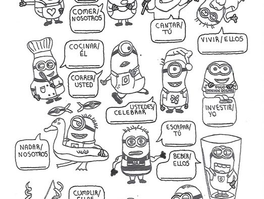 Spanish AR, ER and IR-verb conjugation worksheet Minions no prep practice