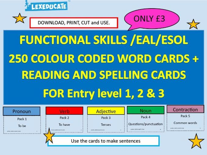 Functional Skills, English -254 colour coded word cards, Spelling and Reading cards, Homophone cards