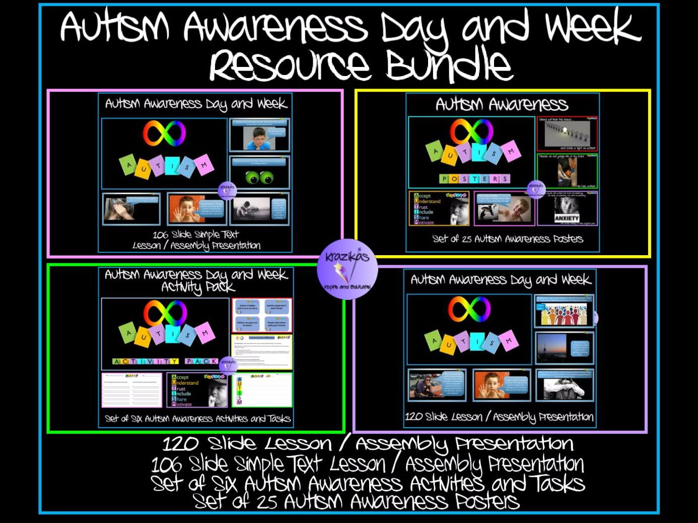 Autism Awareness Bundle - Lesson / Assembly Presentation, Activity Pack, Set of 25 Autism Posters
