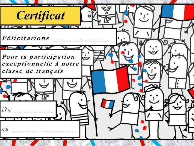 General French certificate 1/ Certificat de francais 1