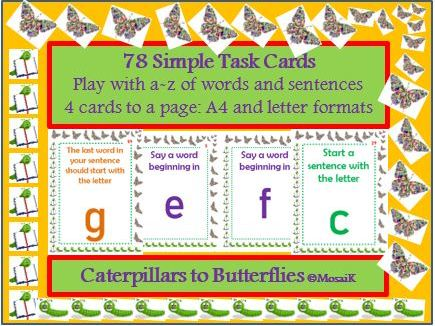 English, literacy, any subject: 78 task cards involving letters to start words and sentences