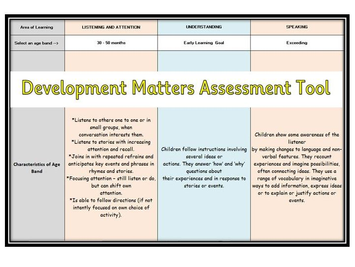 Development Matters Assessment Tool (EYFS)