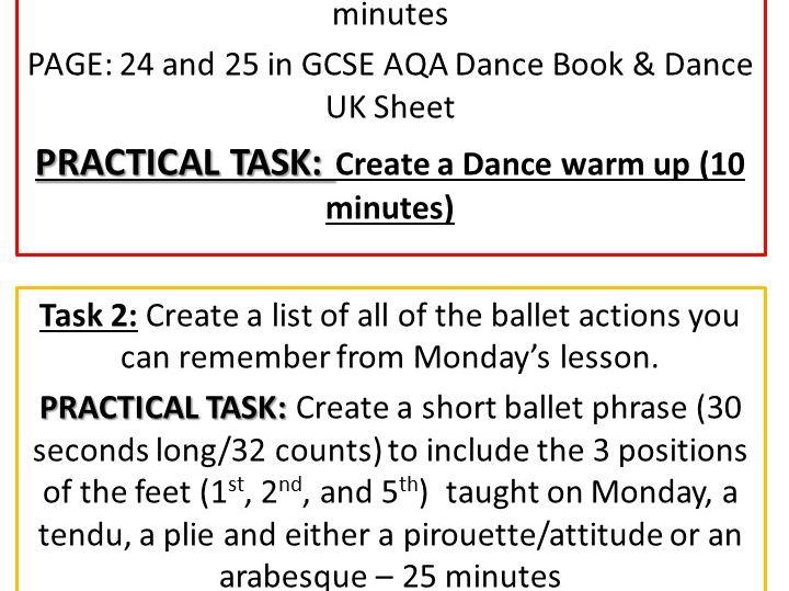 Ballet Lesson Task Card