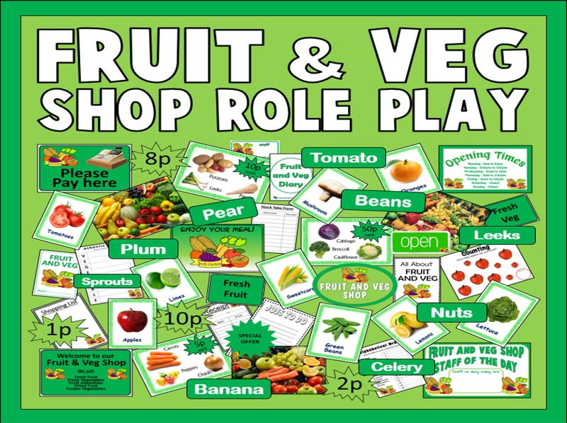 FRUIT & VEG ROLE PLAY SHOP TEACHING RESOURCES EYFS KS1 FOOD HEALTHY EATING