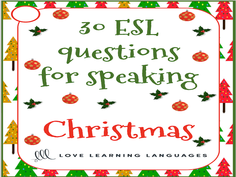 Christmas vocabulary - 30 ESL - ELL Christmas speaking prompt cards - American English