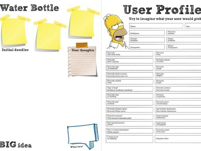 KS4/KS5: Water Bottles (UCD - User Centered Design, one hour lesson, user needs, sketching)