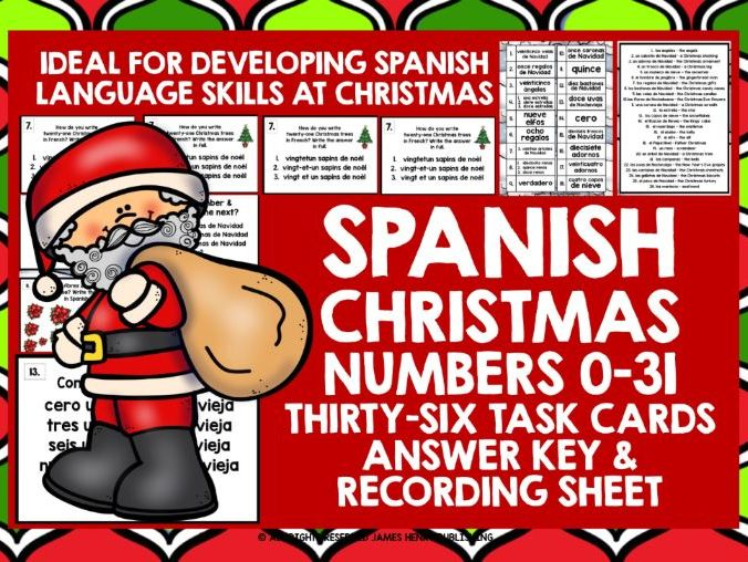 SPANISH CHRISTMAS NUMBERS 0-31 CHALLENGE CARDS