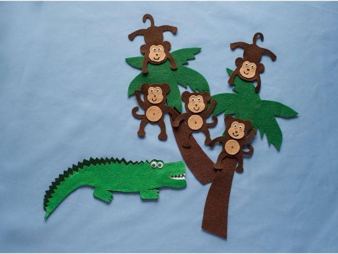 Five Cheeky Monkeys Felt Board Set Digital Pattern