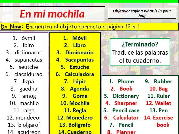 COMPLETE Mira 1 module 1 unit 4 - En mi Mochila pptx