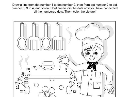 Connect the Dots and Coloring Page with Young Chef