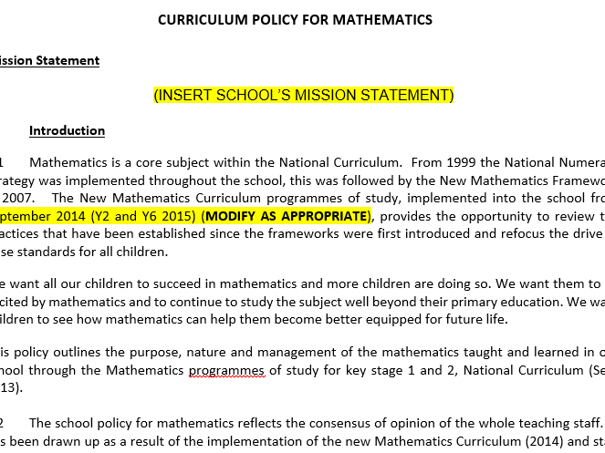 Editable Maths Curriculum Policy