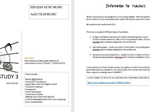 EDUQAS GCSE MUSIC SAMS - Area of Study 3 Film Music