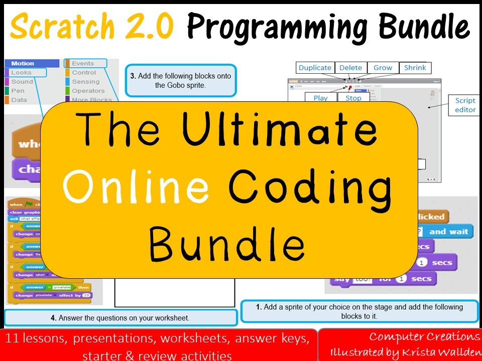 Scratch 2.0 Online Bundle (11 lessons SOW with Workbook, Homework Book and PowerPoint Presentations)