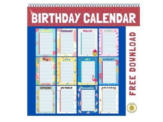 Birthday calendar / Calendario de cumpleaños. Spanish and English monthly calendar. Form activities