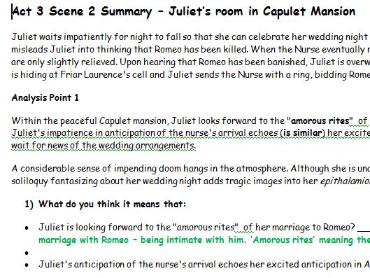 Romeo & Juliet - Act 3 Scene 2 - Juliet longs for Romeo