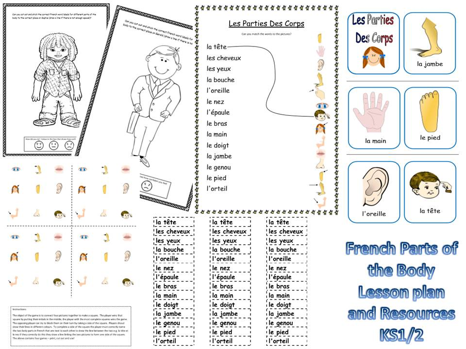 french parts of the body lesson and resources ks1 2 by mrspomme teaching resources. Black Bedroom Furniture Sets. Home Design Ideas