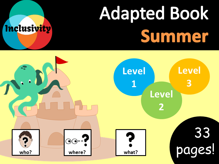 Summer WHO, WHERE, WHAT Adapted book preposition Level 1, Level 2 and Level 3