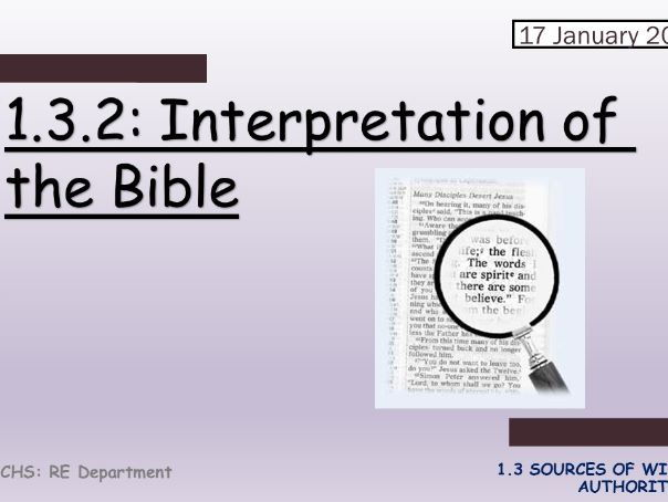 Edexcel Catholic Christianity: 1.3.2 Interpretation of the Bible