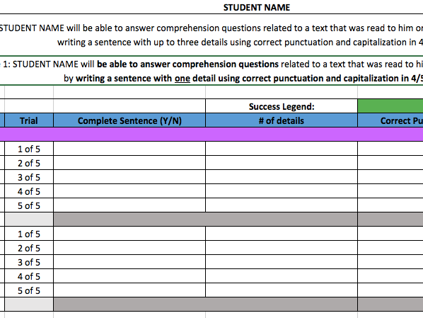 IEP Data Tracking Spreadsheets (Writing - Comprehension Questions)