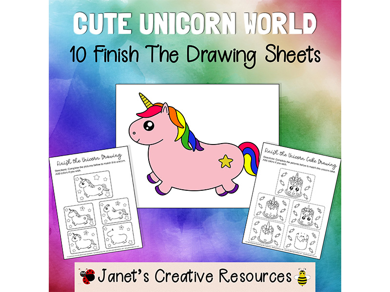 Cute Unicorn World Finish The Drawing