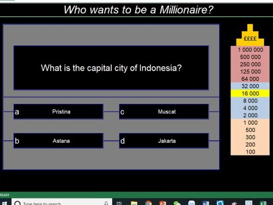 Who Wants to be a Millionaire Geography Game